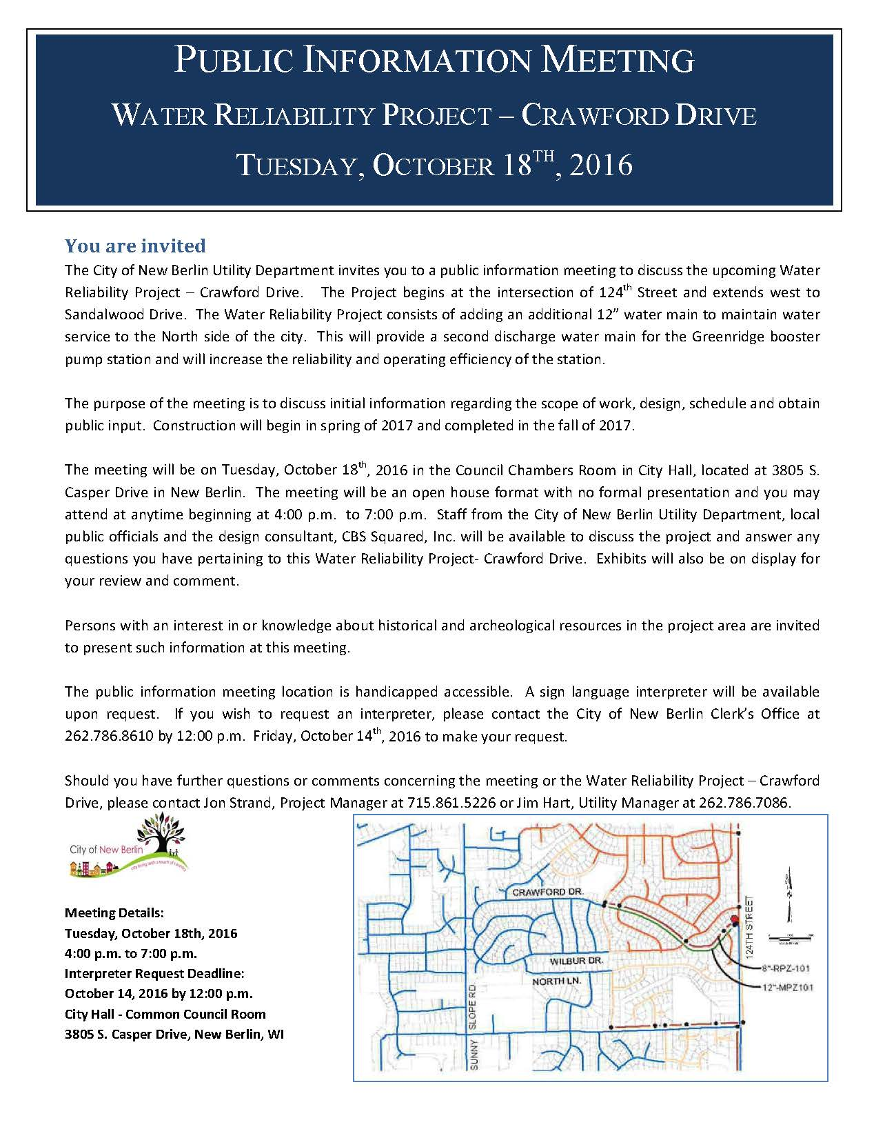 Crawford Drive Water Reliability Informational Meeting Letter October 18, 2016