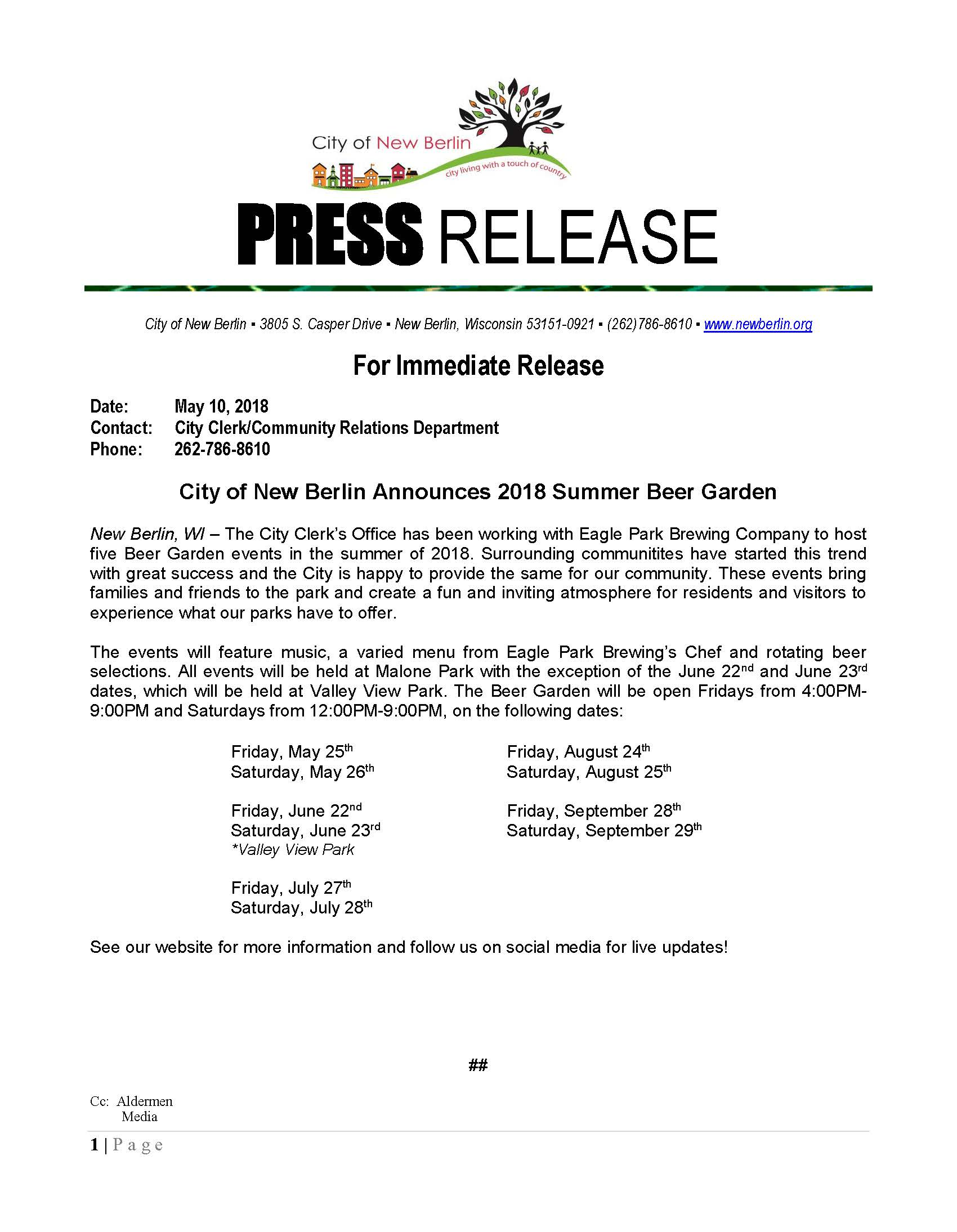 Press-Release-Beer Garden Announcement