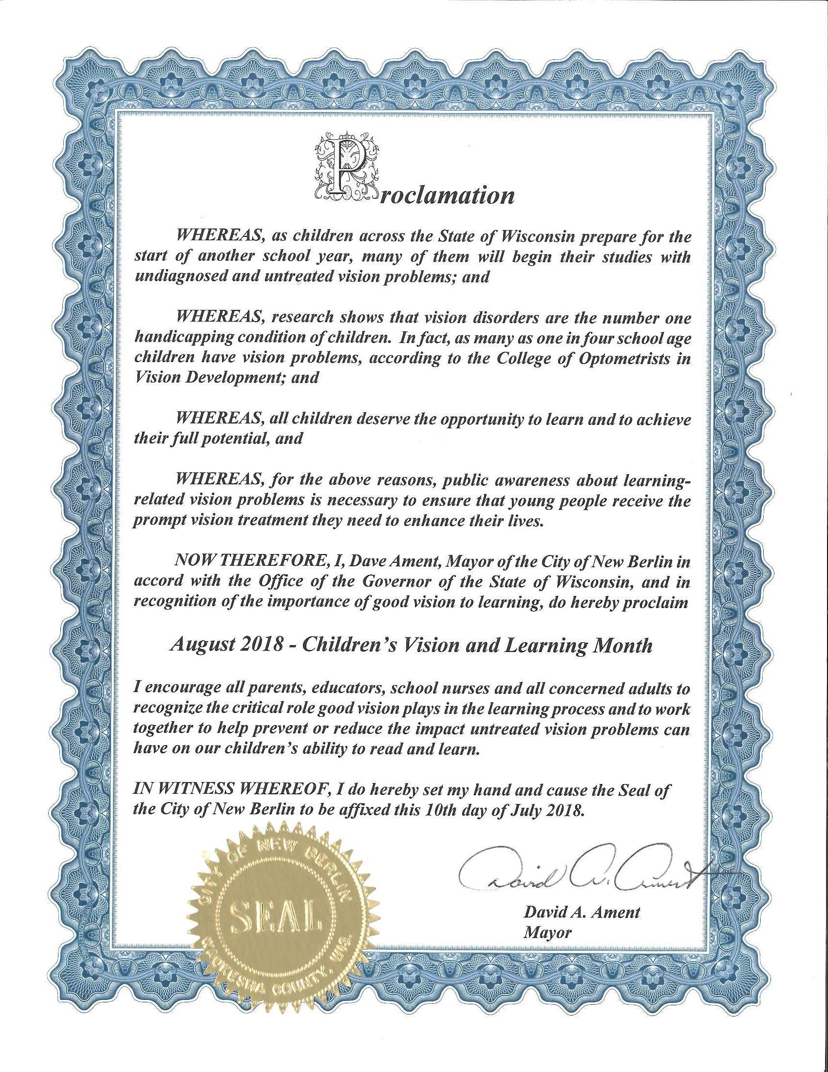 August Vision Month Proclamation