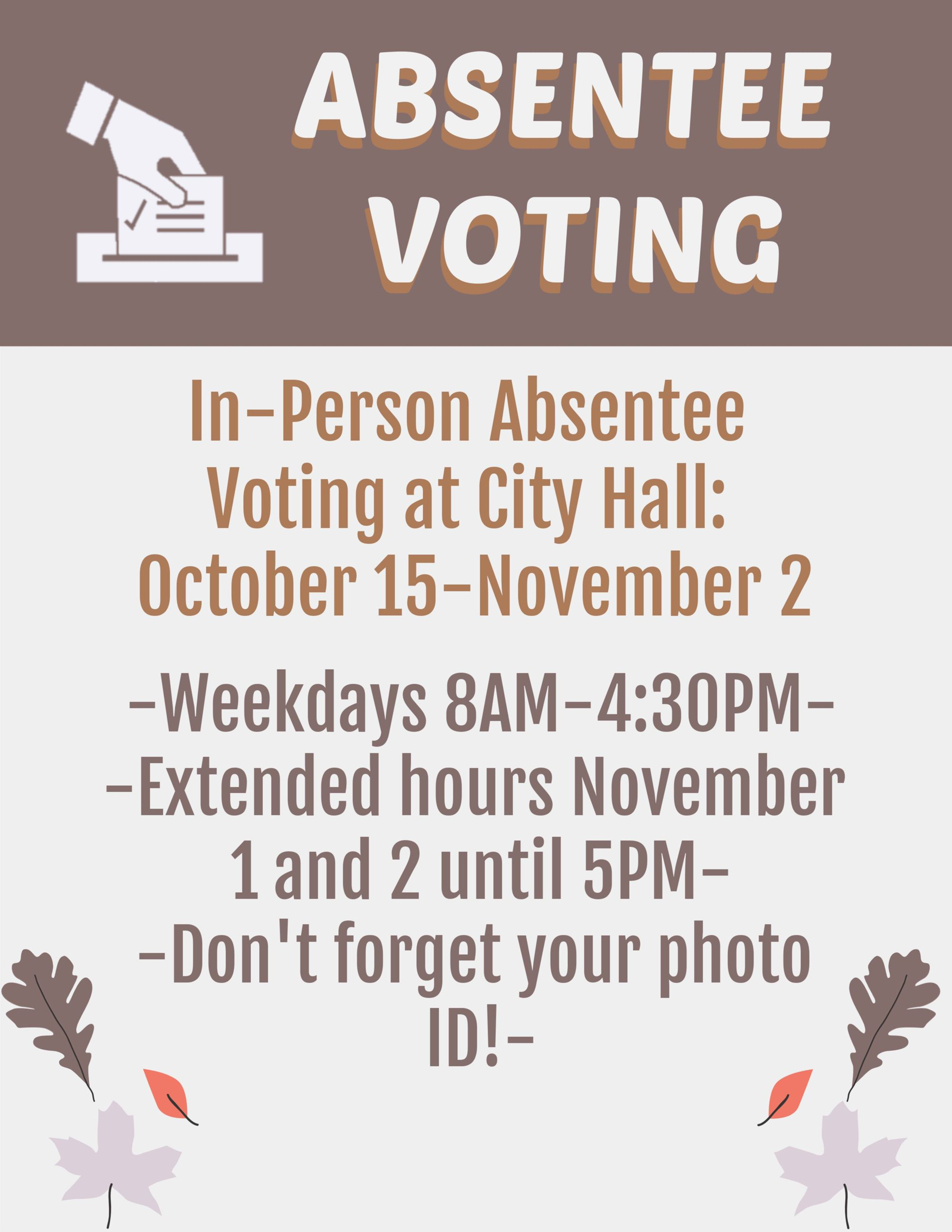 Absentee Fall Election IN PERSON 2018