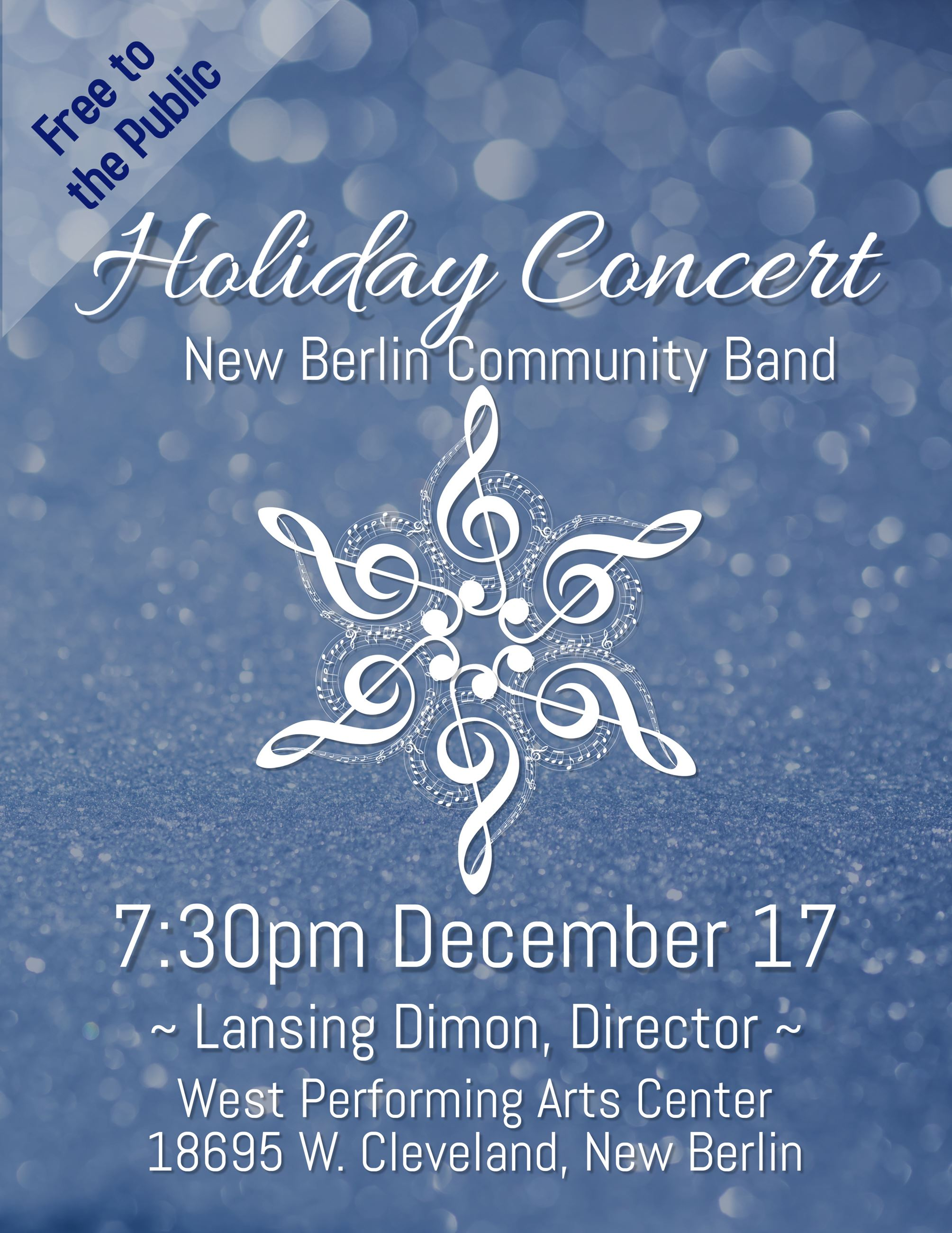 New Berlin Community Band Holiday Concert Poster 2018