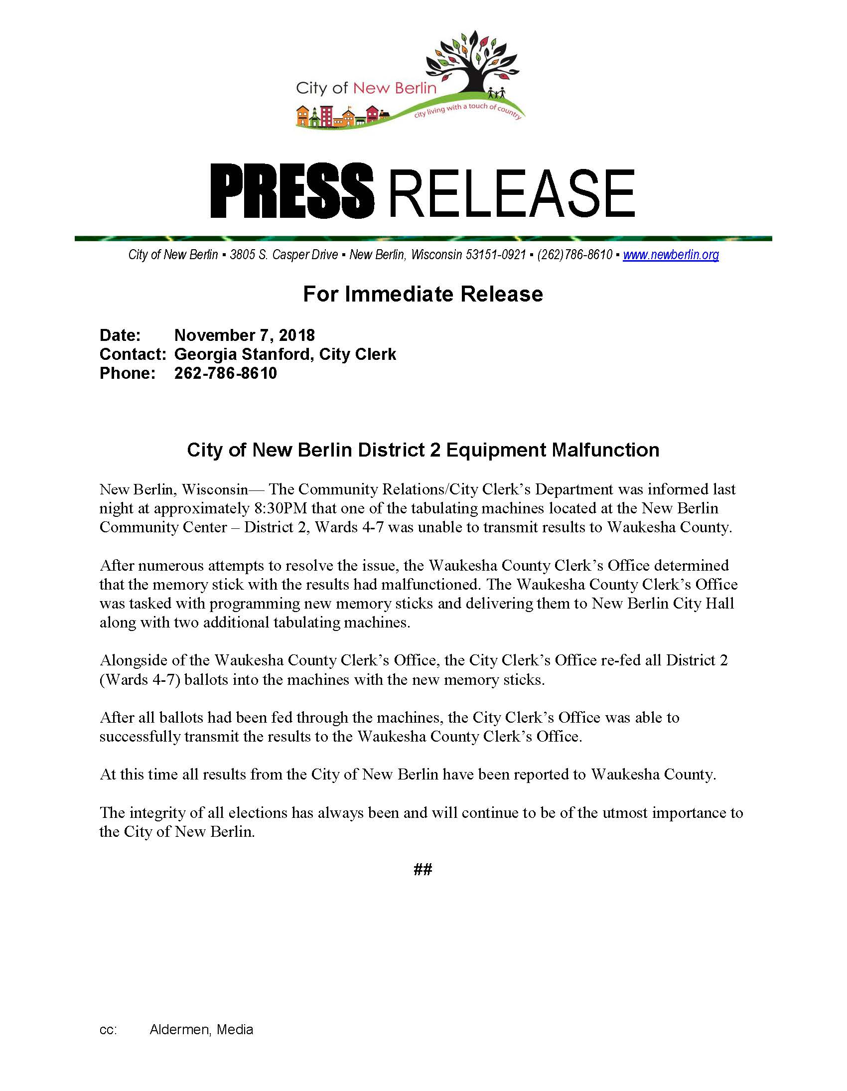 Press Release - District 2 Election Equipment Malfunction