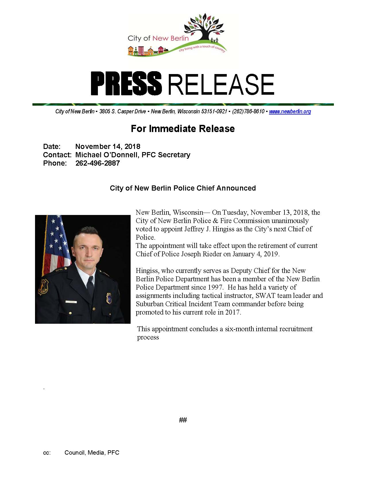Press Release -Police Chief Appnt_
