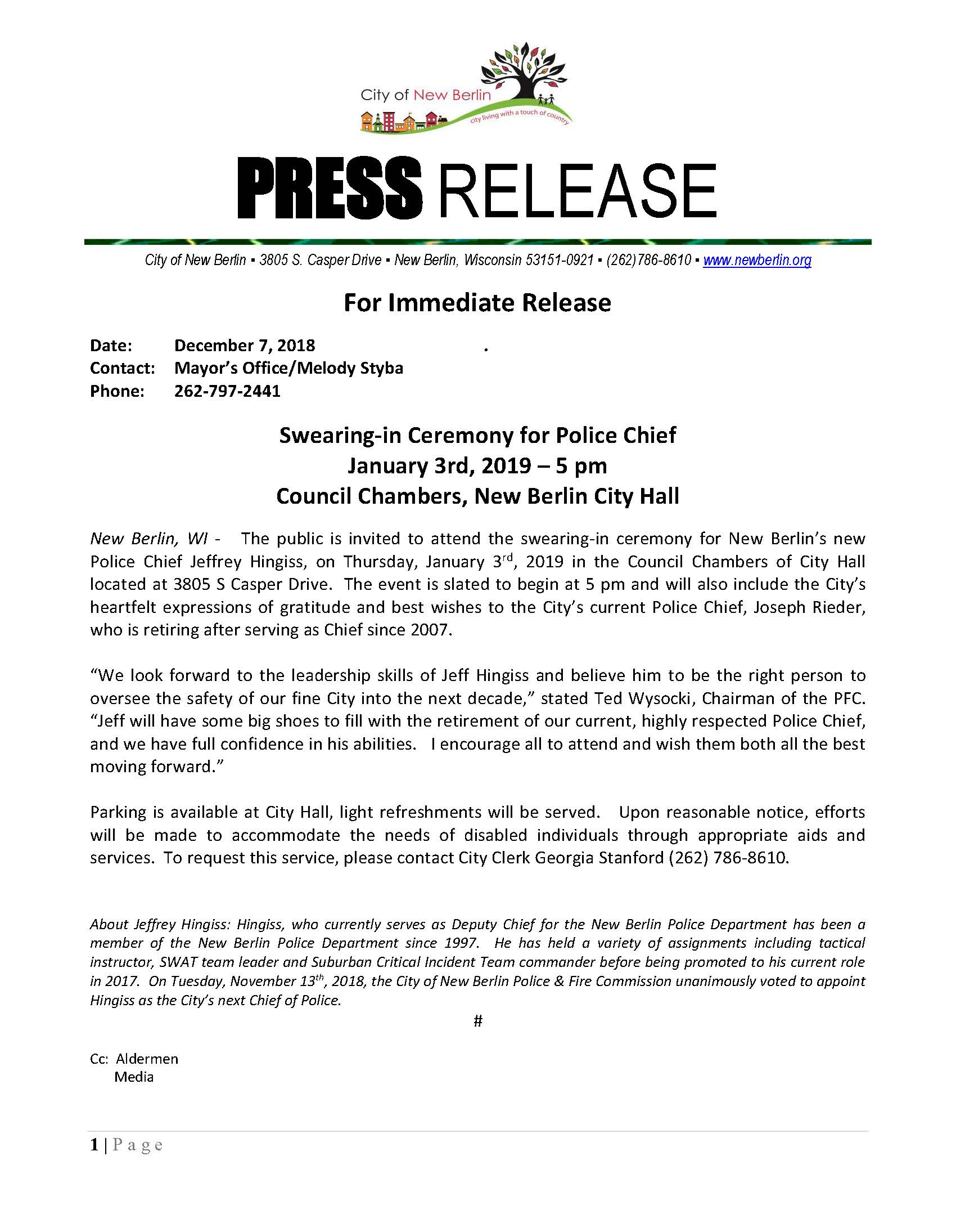 Press-Release - Police Chief Swearing in