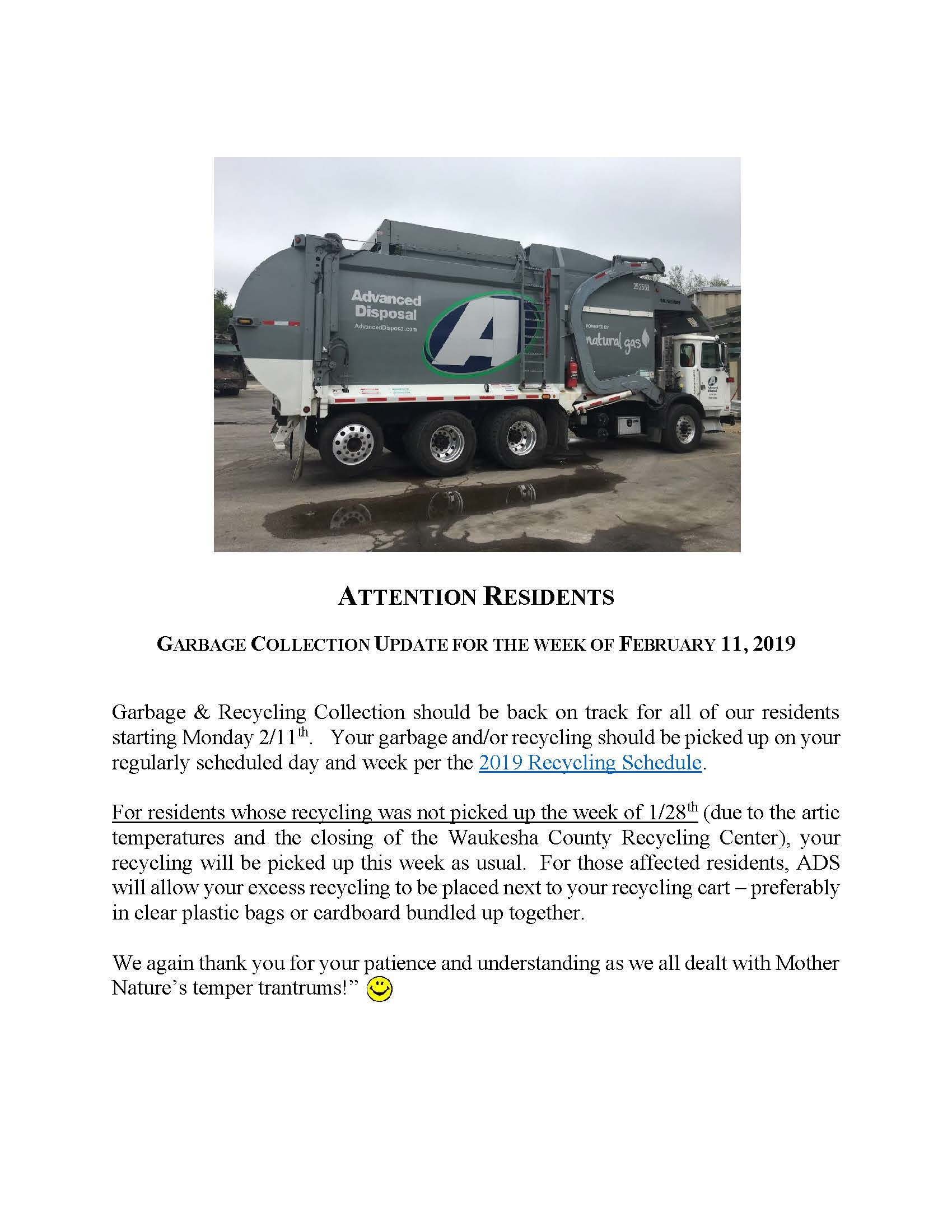 Attention Residents Garbage Update 2.11.19