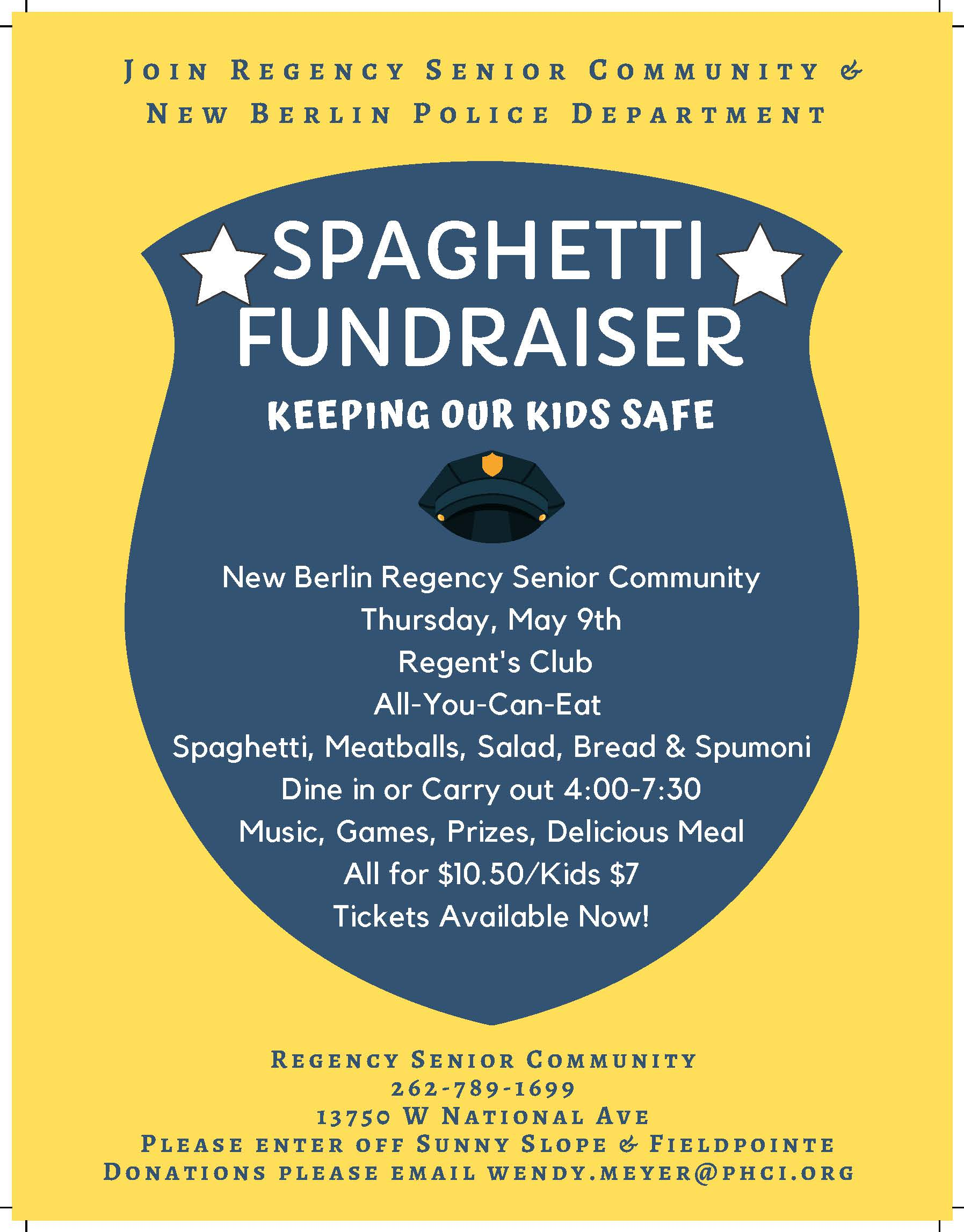Regency Fundraiser Flyer for New Berlin Police Dept