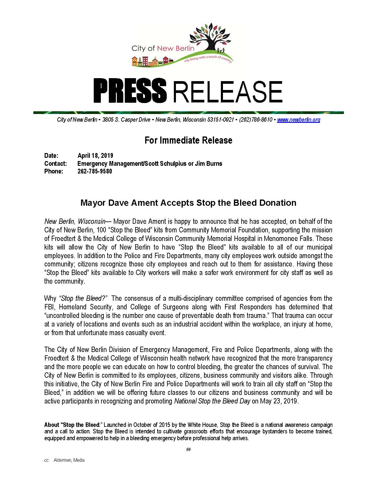 Press-Release - Stop the Bleed Donations