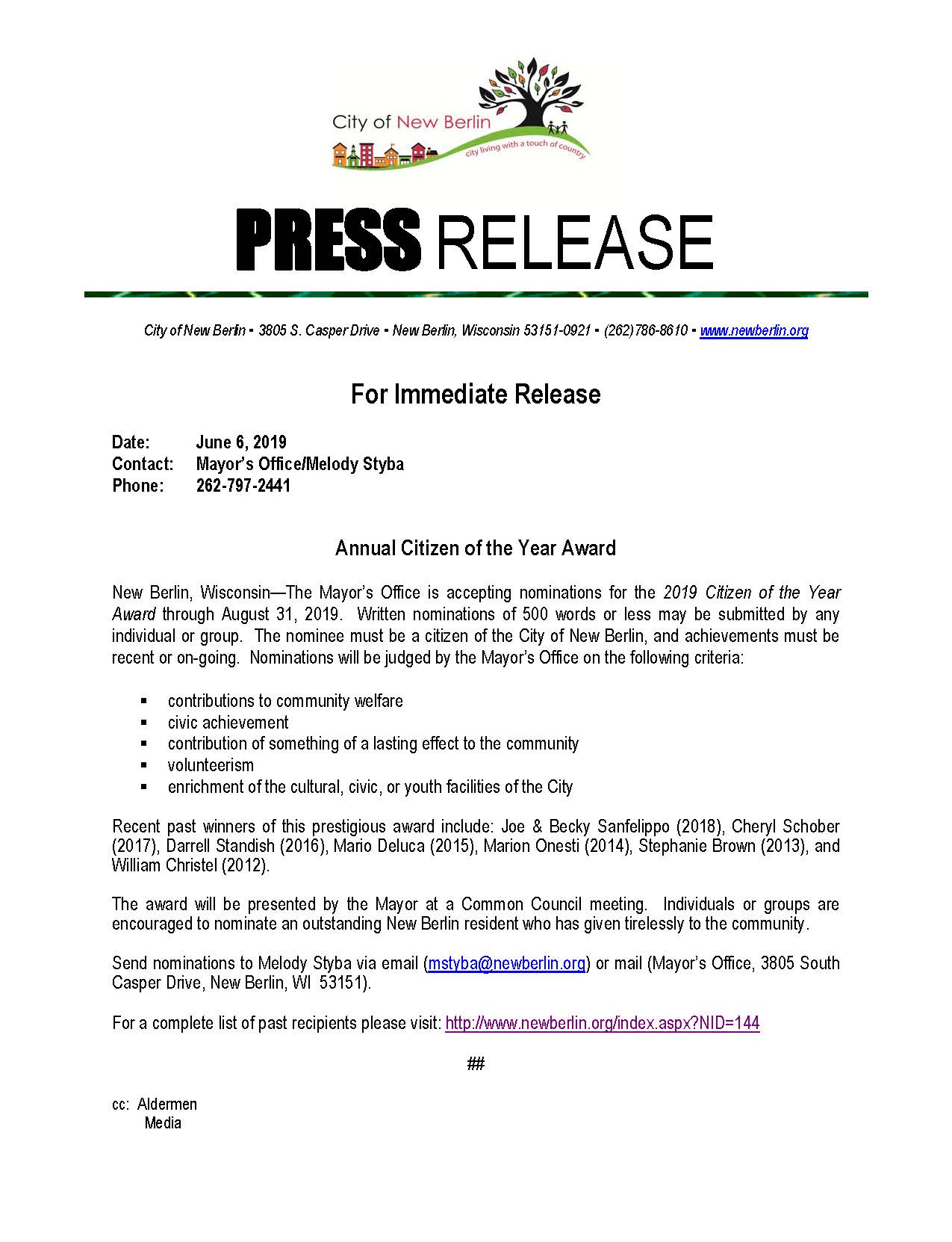Press-Release-Seeking nominations 2019
