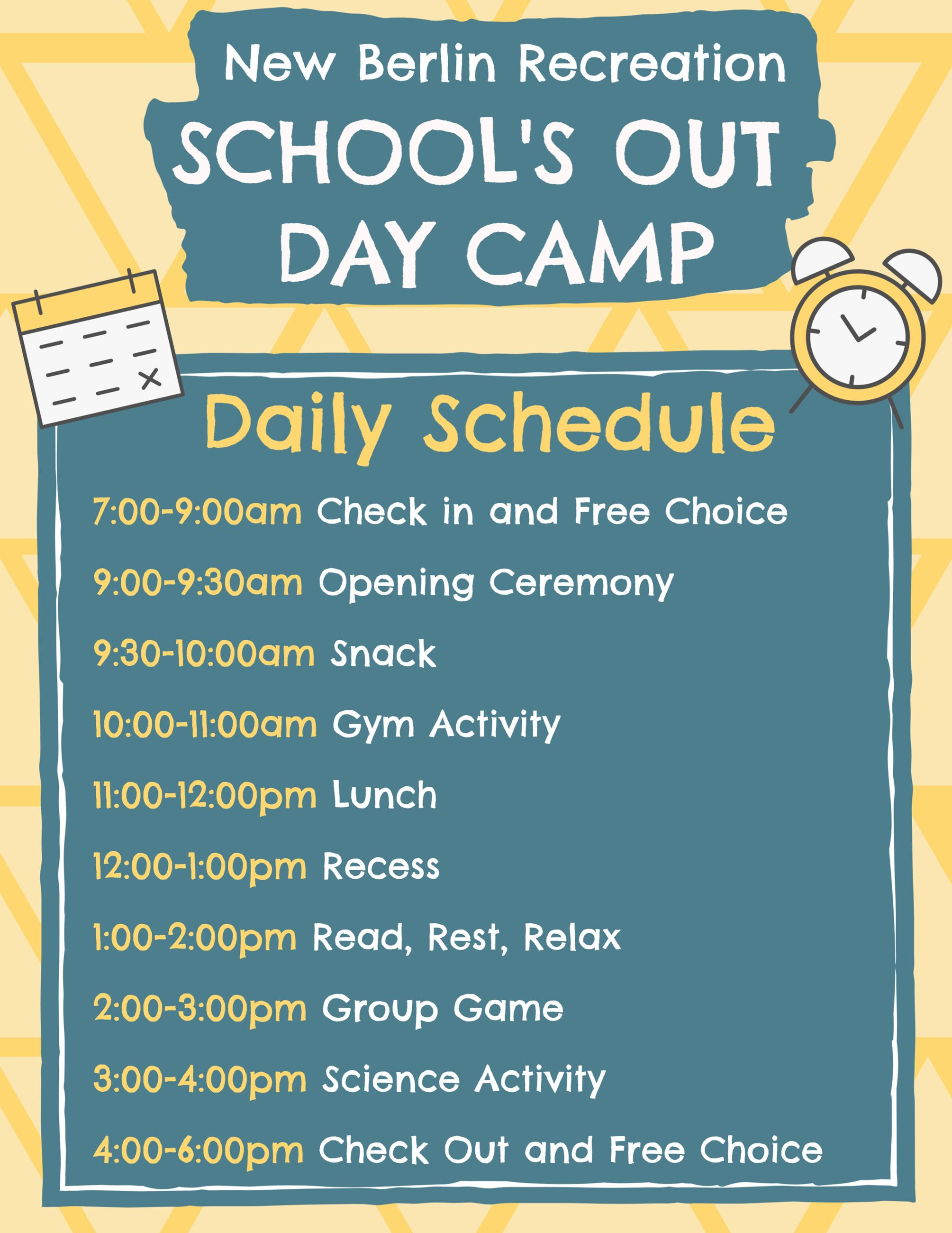 School Out Days Daily Schedule