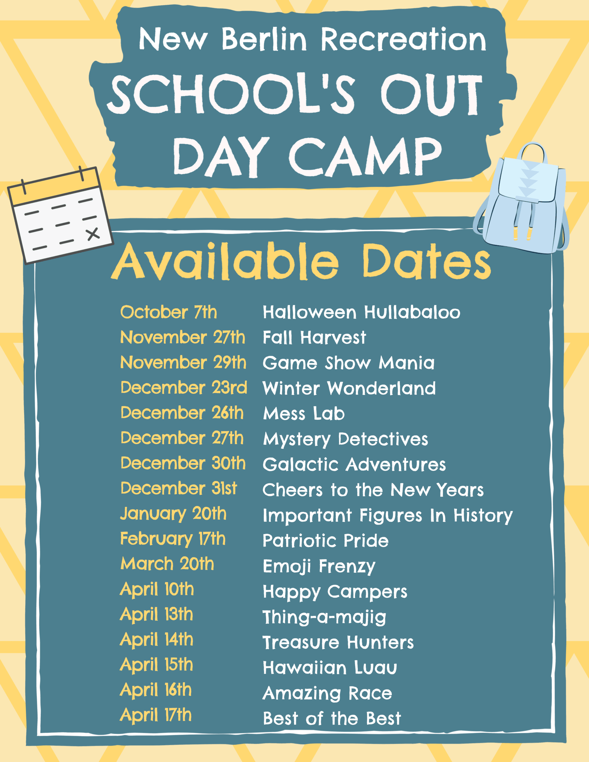School Out Days Available Dates