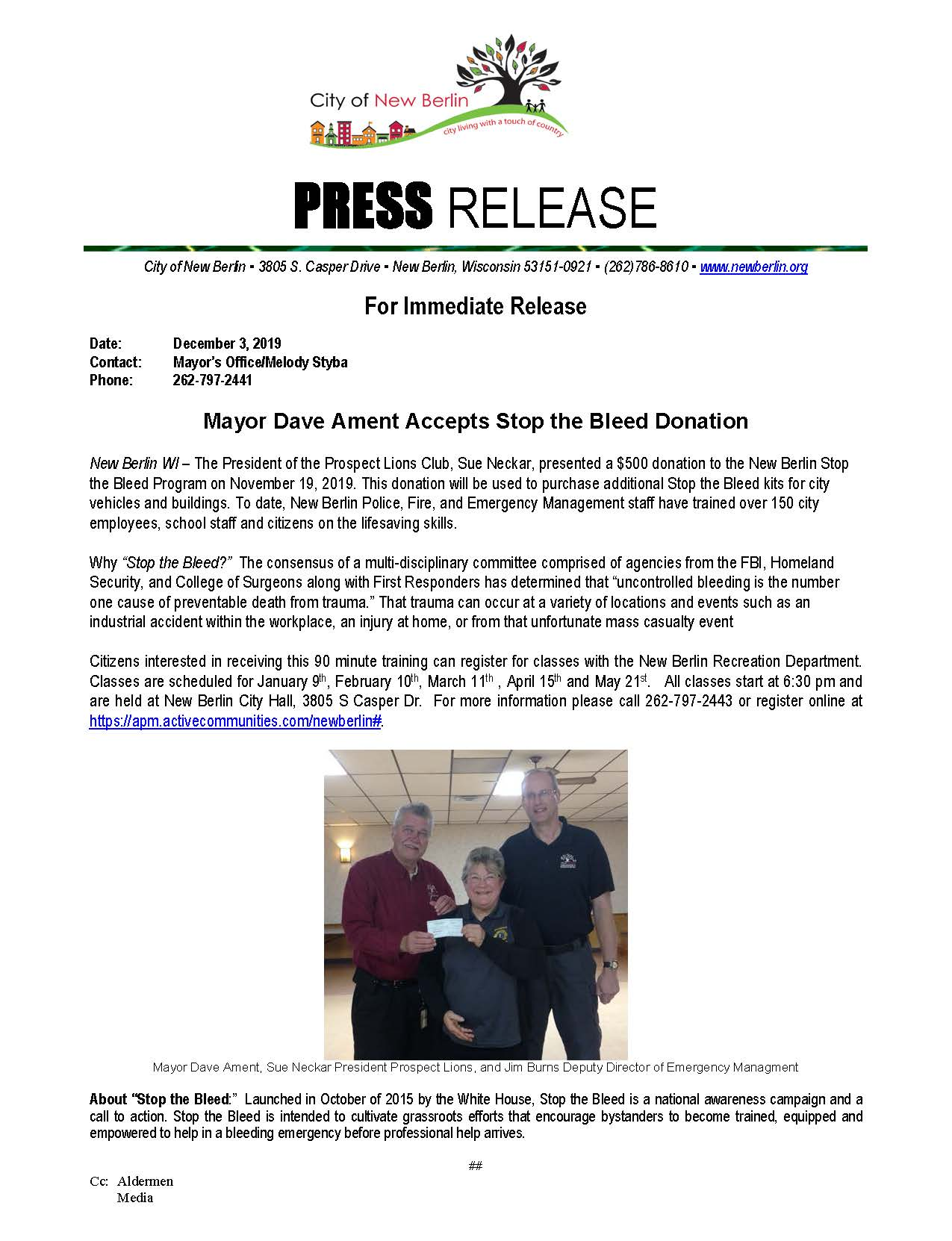 Press Release - Stop the Bleed Prospect Lions