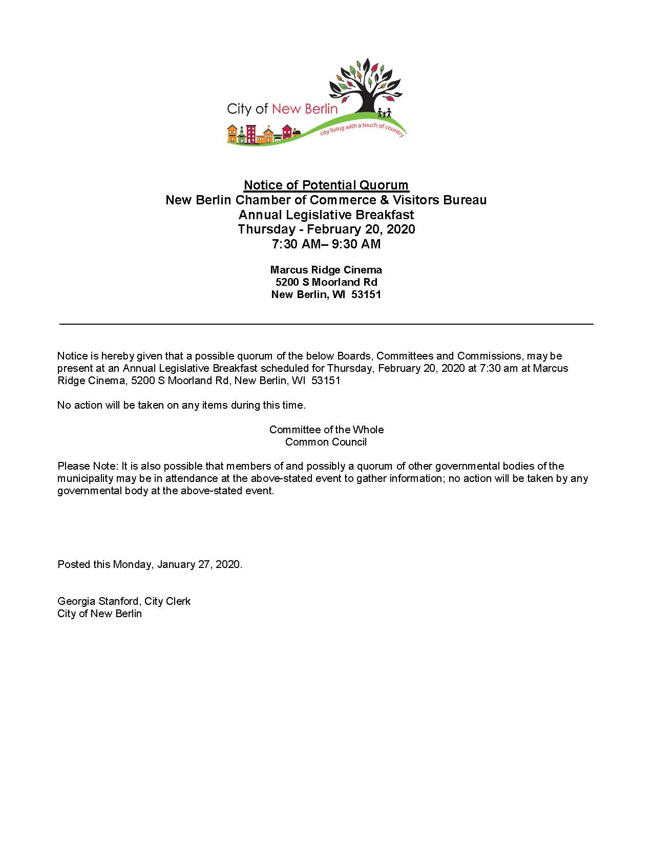 Potential Quorum Notice - Chamber Legislative Lunch