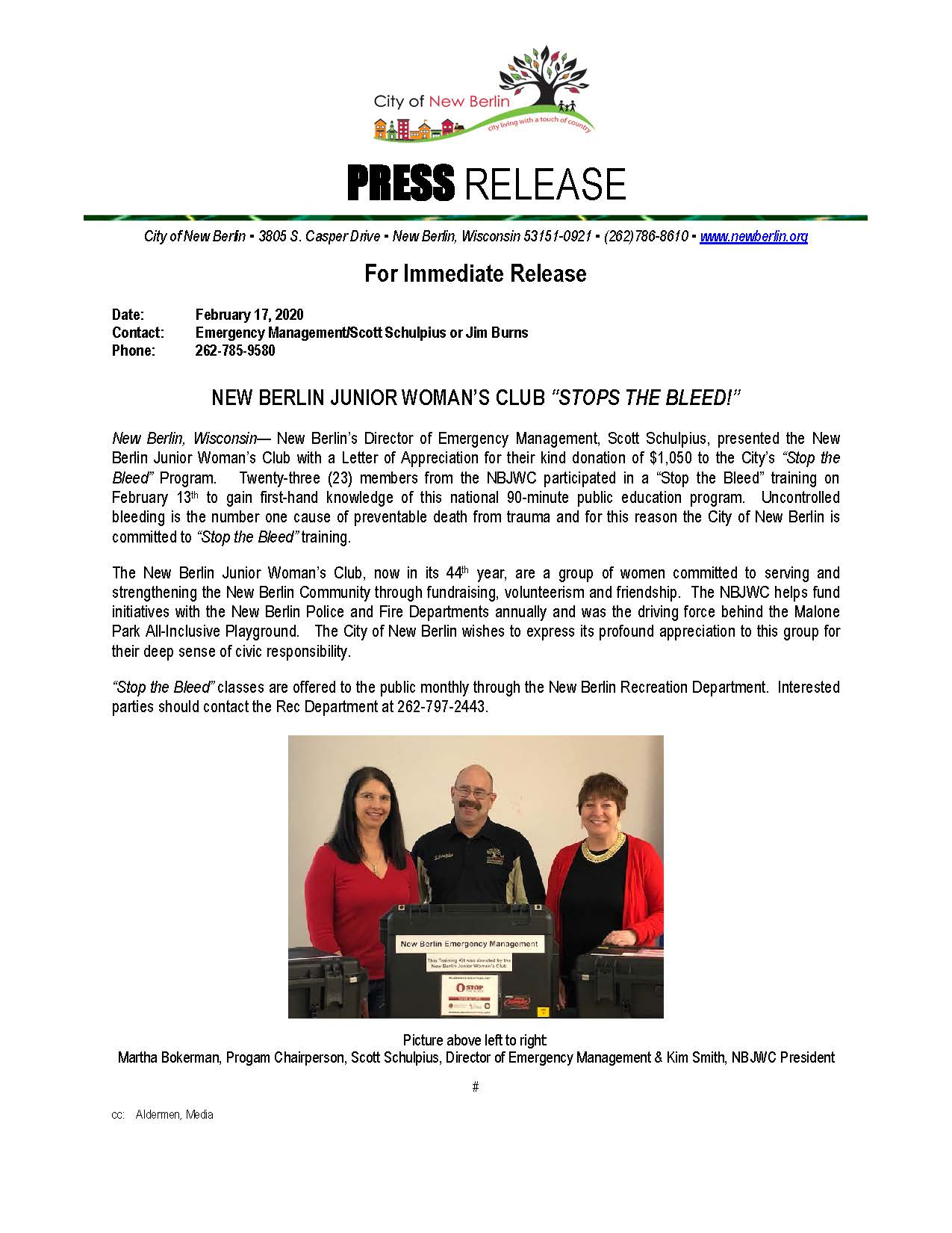 Press Release - NBJWC -Stop the Bleed