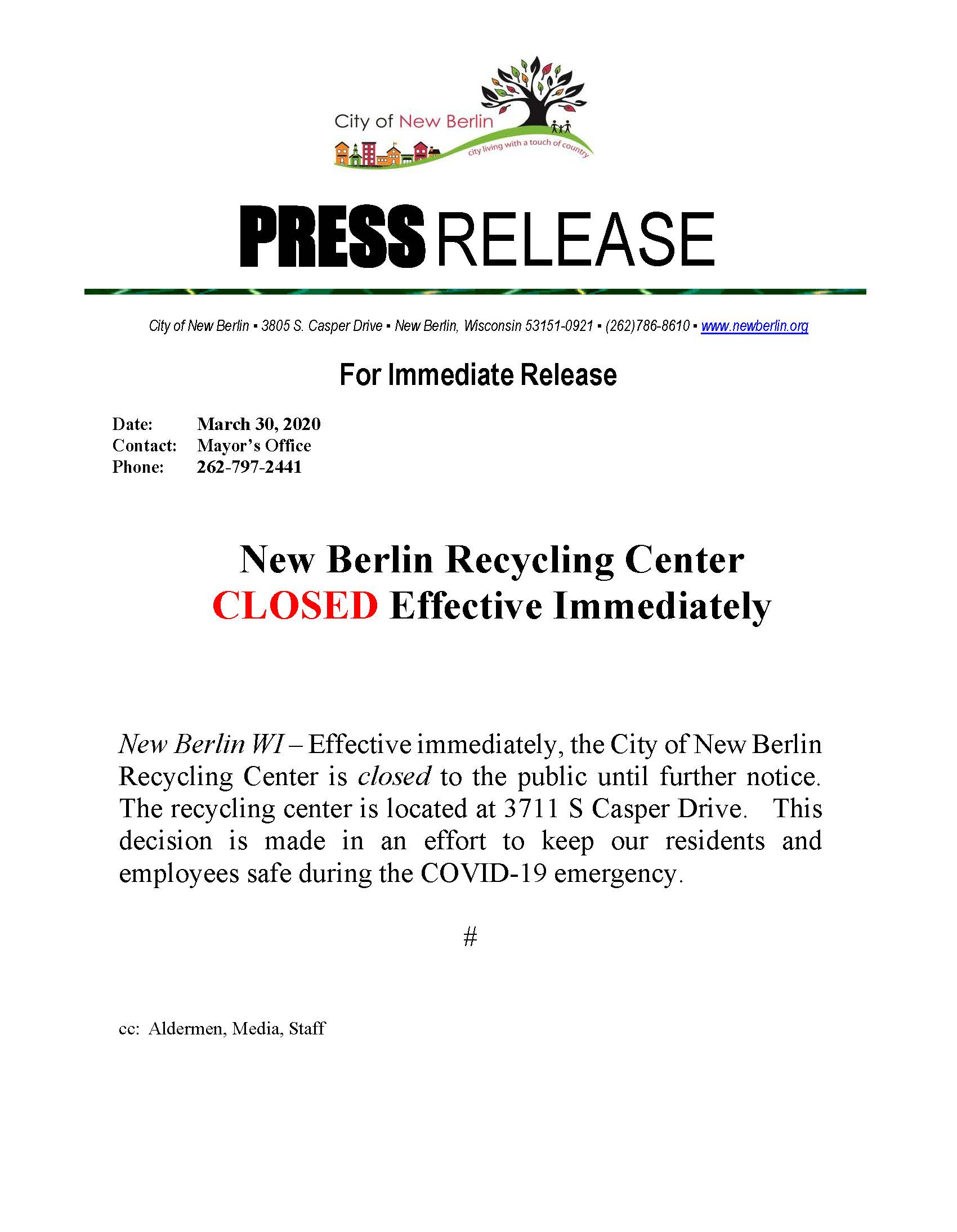 Press Release - Recycling Center CLOSED