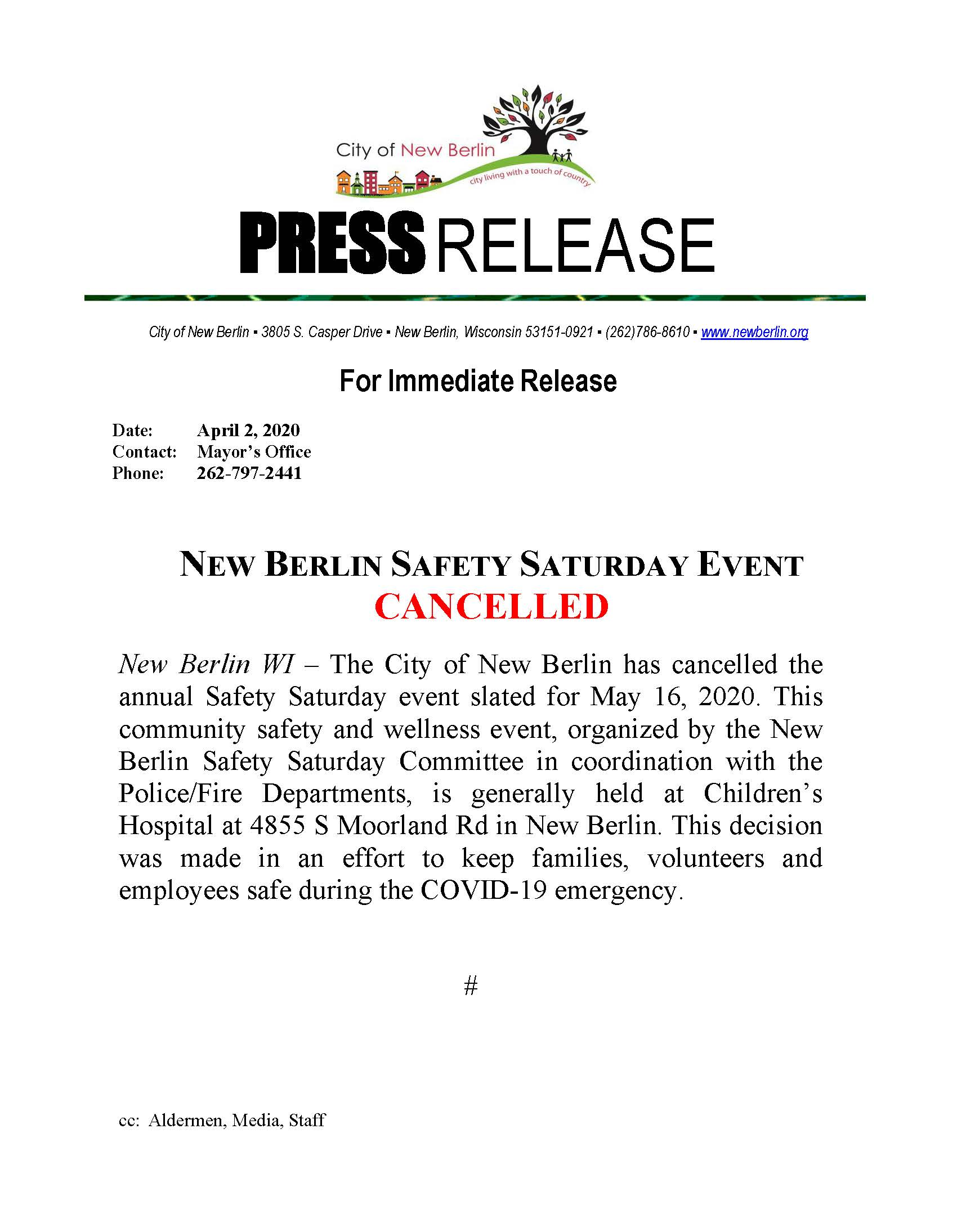 Press Release - Safety Saturday