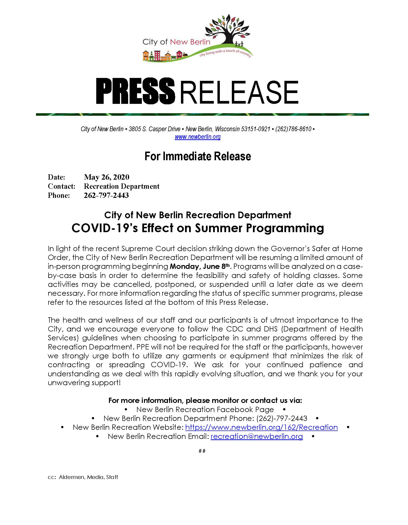 Press Release - Summer Programming