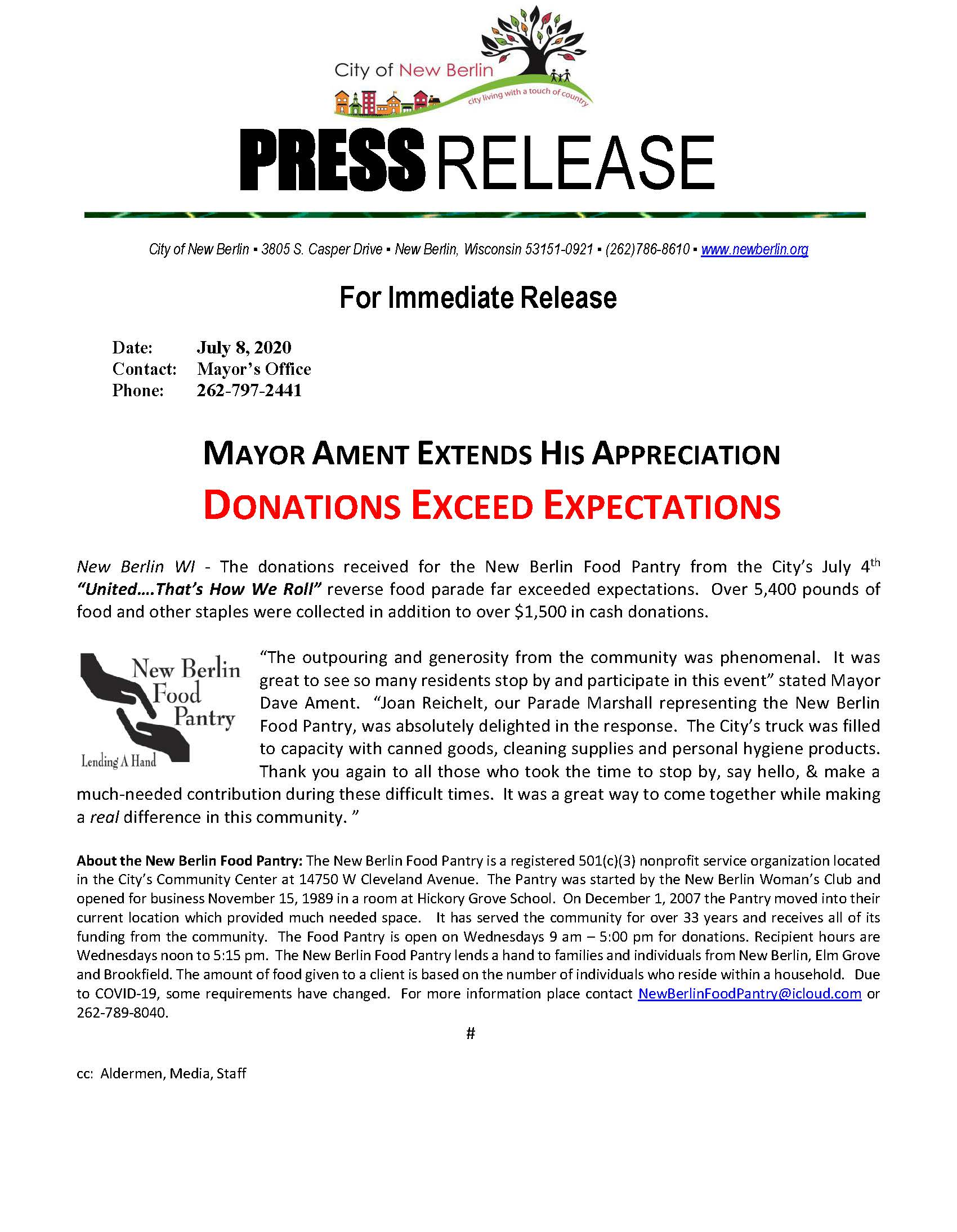 Press Release - 4th of July Thank you to community