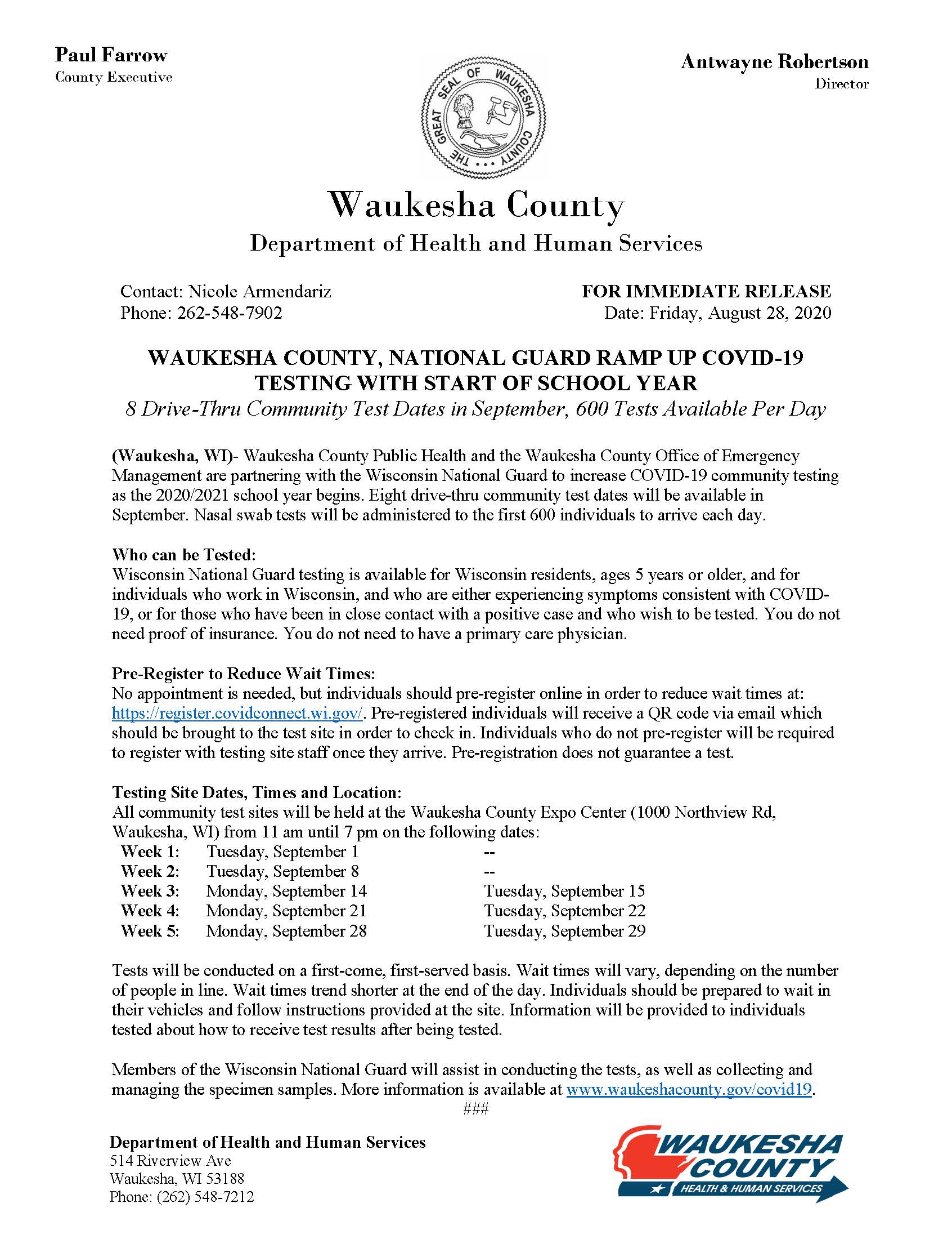 Waukesha County September COVID Test Dates News Release