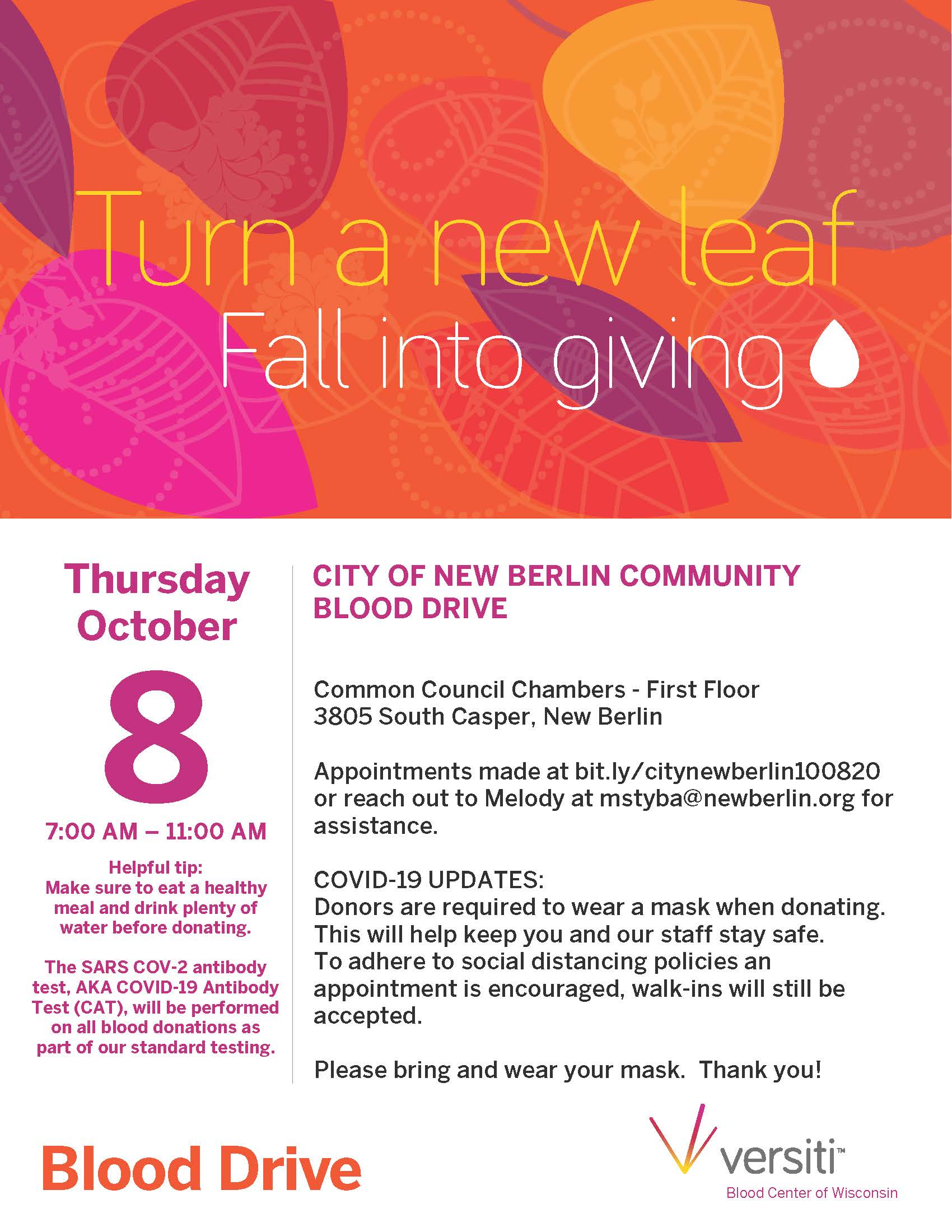 City of New Berlin October 2020 Blood Drive flyer (002)