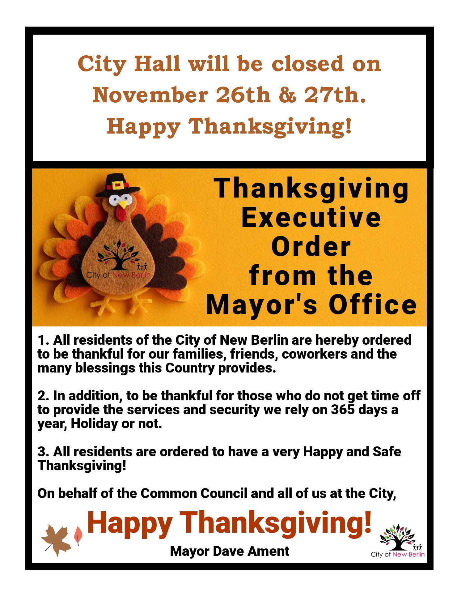 City Hall Closure & Thanksgiving Executive Order from the Mayor's Office