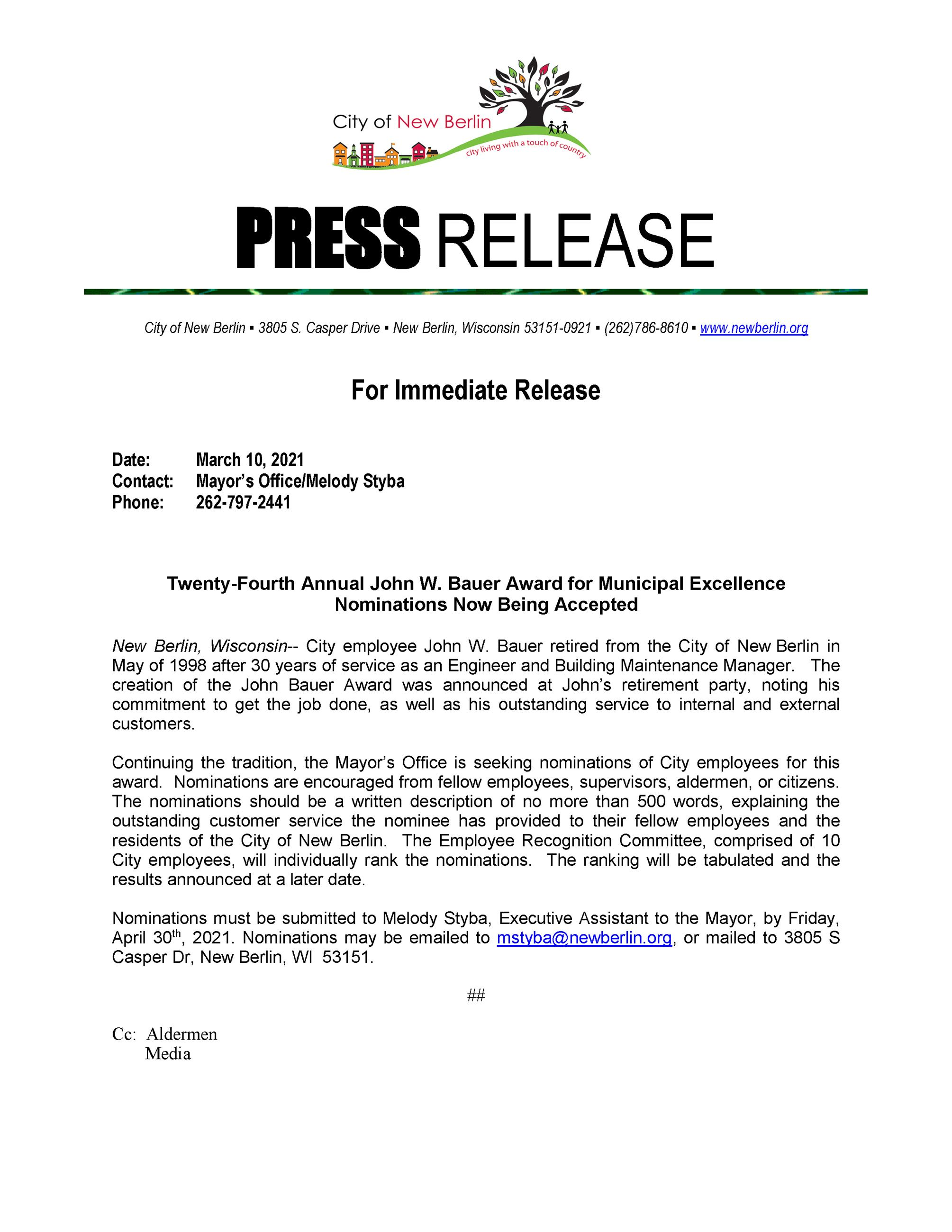 2021 Press Release Seeking Nominations